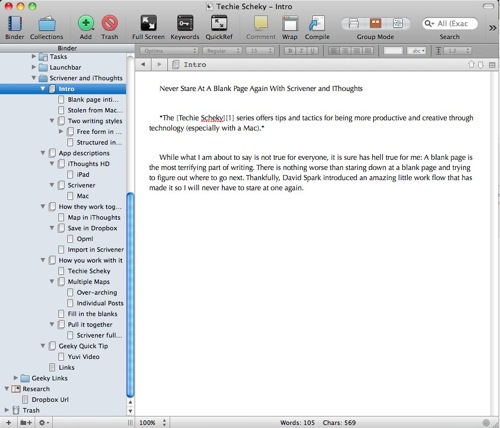 IThoughts HD Mind Map Imported into Scrivener from The Techie Scheky Series
