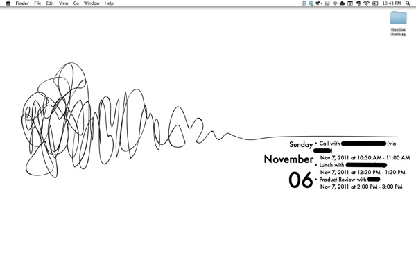 Michael Schechter s Desktop using GeekTool and iCalBuddy