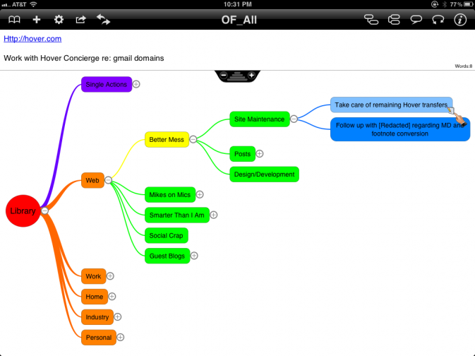OmniFocus Library to Mind Map using OPML and iThoughts HD