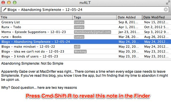 Select a note in nvALT and show in Finder